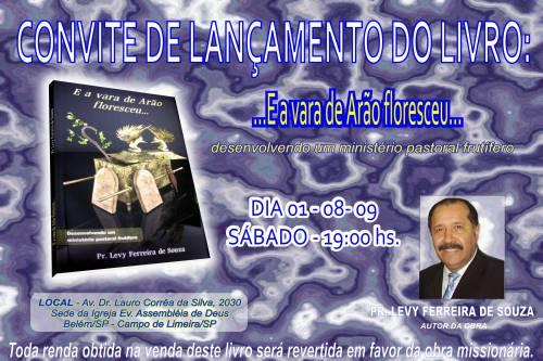 Pastor Levy Ferreira de Souza lançará novo Livro.
