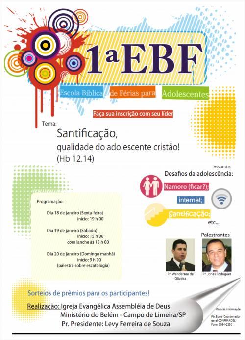 1ª E.B.F (Escola Bíblica de Férias para Adolescentes)